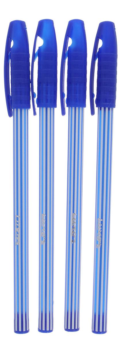 Luxor Набор шариковых ручек Stripes цвет чернил синий 4 шт31131/4СНабор шариковых ручек Luxor Stripes станет незаменимым атрибутом в учебе любого школьника и на работе.В наборе 4 шариковые ручки с колпачками, цвет чернил - синий.