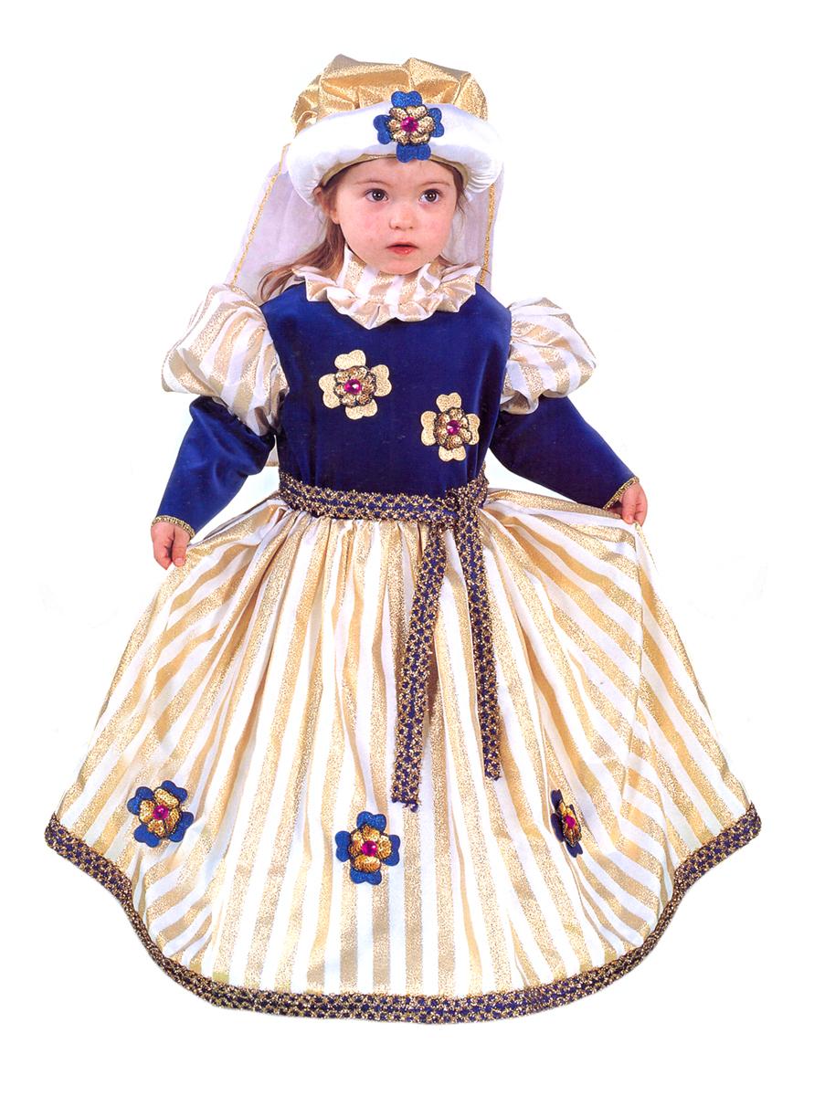 Rio Карнавальный костюм для девочки Принцесса цвет синий золотой размер 30 (5-6 лет) rio карнавальный костюм для девочки царевна цвет белый размер 28 3 4 года