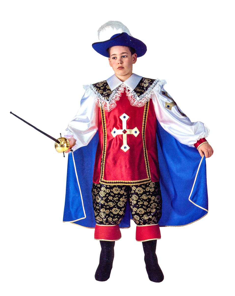 цена Rio Карнавальный костюм для мальчика Д'Артаньян цвет красный синий размер 34 (7-8 лет) онлайн в 2017 году