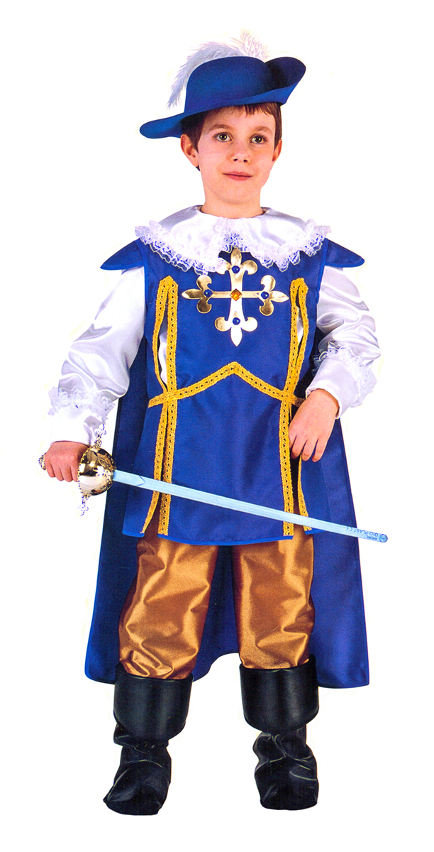 Rio Карнавальный костюм для мальчика Арамис цвет синий белый размер 34 (7-8 лет) - Карнавальные костюмы и аксессуары