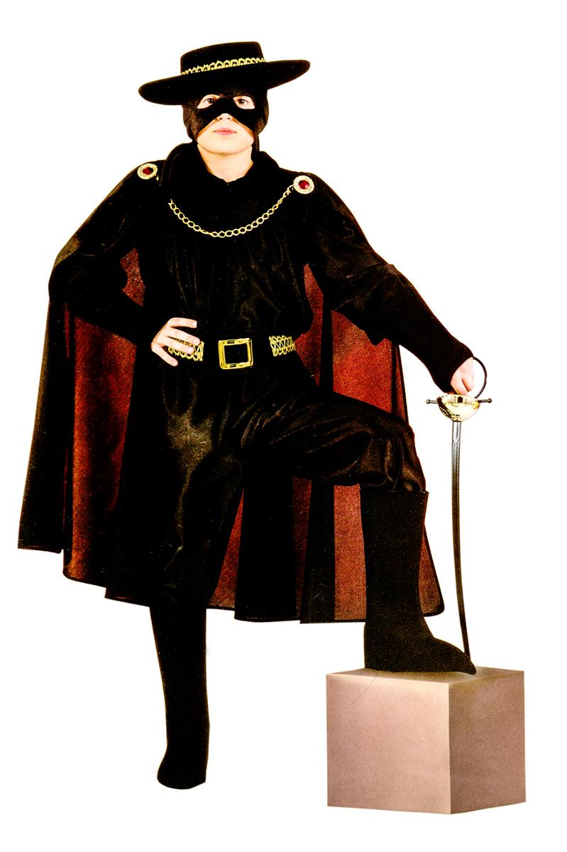 Rio Карнавальный костюм для мальчика Зорро цвет черный размер 28 (3-4 года) rio карнавальный костюм для девочки царевна цвет белый размер 28 3 4 года