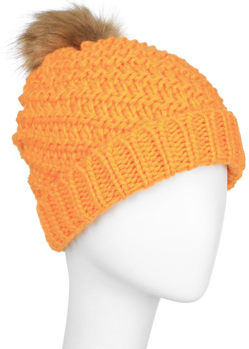 Шапка женская Roxy Blizzard Beanie, цвет: оранжевый. ERJHA03096-NHP0. Размер универсальныйERJHA03096-NHP0Стильная женская шапка Roxy Blizzard Beanie дополнит ваш наряд и не позволит вам замерзнуть в холодное время года. Шапка выполнена акрила, что позволяет ей великолепно сохранять тепло и обеспечивает высокую эластичность и удобство посадки. Внутри - флисовая подкладка. Оформлена модель небольшим помпоном на макушке и нашивкой с логотипом бренда.Такая шапка составит идеальный комплект с модной верхней одеждой!