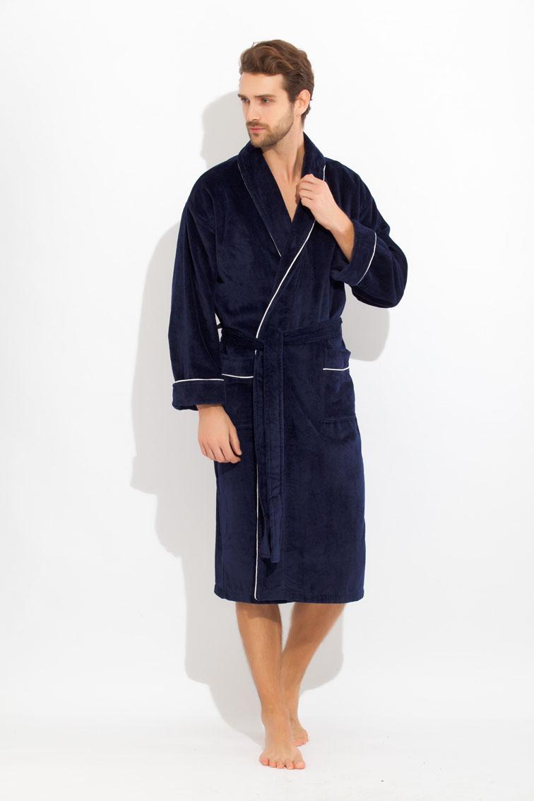 Халат мужской Peche Monnaie, цвет: синий. 1588. Размер XXXL (58/60) купить шелковый халат мужской спб