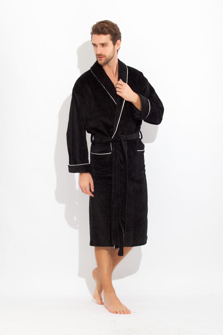 Халат мужской Peche Monnaie, цвет: черный. 1588. Размер XXXL (58/60) купить шелковый халат мужской спб