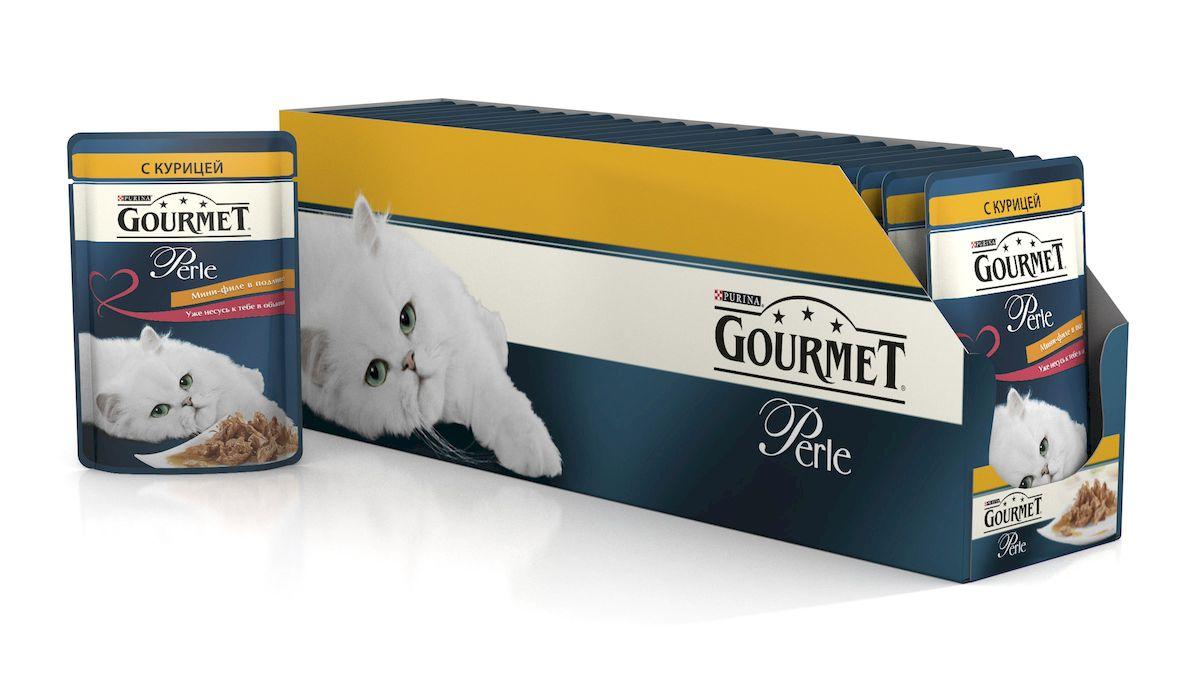 Консервы для кошек Gourmet Perle, мини-филе с курицей, 85 г, 24 шт гурме консервы пауч с лососем для кошек gourmet perle mini fillets 85 г