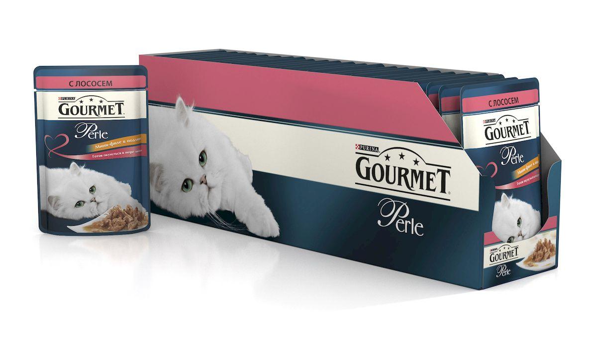 Консервы для кошек Gourmet Perle, мини-филе с лососем, 85 г, 24 шт54158_24Ваша кошка - настоящий гурман, и порой ей сложно угодить. Корм Gourmet Perle - это изысканное угощение с превосходным вкусом, которым ваша кошка будет наслаждаться каждый день. Ваш гурман оценит нежнейшие кусочки с мясом или рыбой, приготовленные в аппетитном соусе. Корм Gourmet Perle - изысканное угощение на каждый день.Рекомендации по кормлению: Суточная норма: 3-4 пакетика в день для взрослой кошки (средний вес 4 кг), в два приема. Данная суточная норма рассчитана для умеренно активных взрослых кошек, живущих в условиях нормальной температуры окружающей среды. В зависимости от индивидуальных потребностей кошки норма кормления может быть скорректирована для поддержания нормального веса вашей кошки.Подавайте корм комнатной температуры. Следите, чтобы у вашей кошки всегда была чистая, свежая питьевая вода. Условия хранения: Закрытый пакетик хранить в сухом прохладном месте. После открытия продукт хранить в холодильнике максимум 24 часа.Состав: мясо и продукты переработки мяса, экстракт растительного белка, рыба и продукты переработки рыбы (в том числе лосось 4%), минеральные вещества, сахара, витамины, красители.Гарантируемые показатели: влажность 79,0%, белок 14.0%, жир 2,5%, сырая зола 2,2%, сырая клетчатка 0,5%Добавленные вещества: МЕ/кг: витамин A: 800; витамин D3: 120; витамин Е: 18; мг/кг: железо: 9; йод: 0,2; медь: 0,8; марганец: 1,8; цинк: 15.Вес: 85 г.Товар сертифицирован.