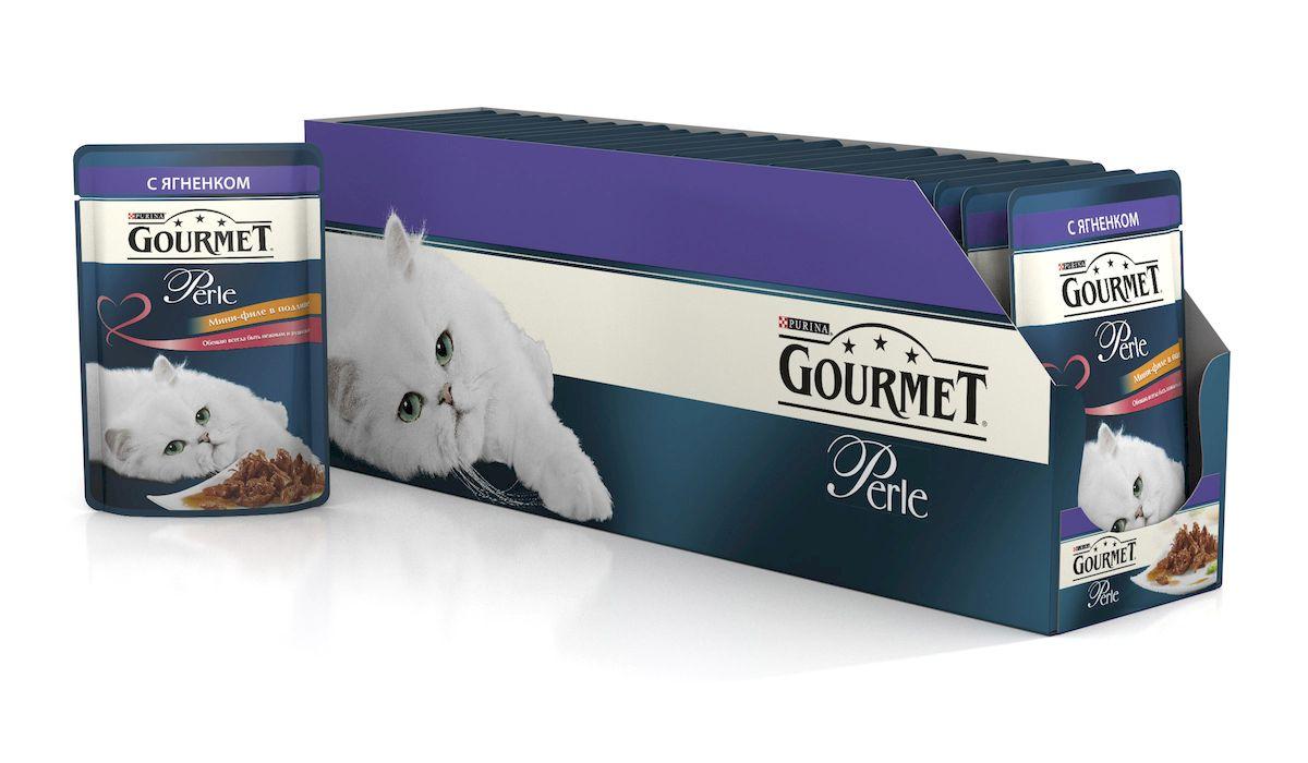 Консервы для кошек Gourmet Perle, мини-филе с ягненком, 85 г, 24 шт54058_24Ваша кошка - настоящий гурман, и порой ей сложно угодить. Корм Gourmet Perle - это изысканное угощение с превосходным вкусом, которым ваша кошка будет наслаждаться каждый день. Ваш гурман оценит нежнейшие кусочки с мясом или рыбой, приготовленные в аппетитном соусе. Корм Gourmet Perle - изысканное угощение на каждый день.Рекомендации по кормлению: Суточная норма: 3-4 пакетика в день для взрослой кошки (средний вес 4 кг), в два приема. Данная суточная норма рассчитана для умеренно активных взрослых кошек, живущих в условиях нормальной температуры окружающей среды. В зависимости от индивидуальных потребностей кошки норма кормления может быть скорректирована для поддержания нормального веса вашей кошки. Подавайте корм комнатной температуры. Следите, чтобы у вашей кошки всегда была чистая, свежая питьевая вода. Условия хранения: Закрытый пакетик хранить в сухом прохладном месте. После открытия продукт хранить в холодильнике максимум 24 часа.Состав: мясо и продукты переработки мяса (в том числе ягненка 4%), экстракт растительного белка, рыба и продукты переработки рыбы, минеральные вещества, сахара, витамины, красители.Гарантируемые показатели: влажность 79.0%, белок 14.0%, жир 2.5%, сырая зола 2.2%, сырая клетчатка 0.5%. Добавленные вещества: МЕ/кг: витамин A: 800 ; витамин D3: 120; витамин Е: 18; мг/кг: железо: 9; йод: 0,2; медь: 0,8; марганец: 1,8; цинк: 15.Вес: 85 г.Товар сертифицирован.