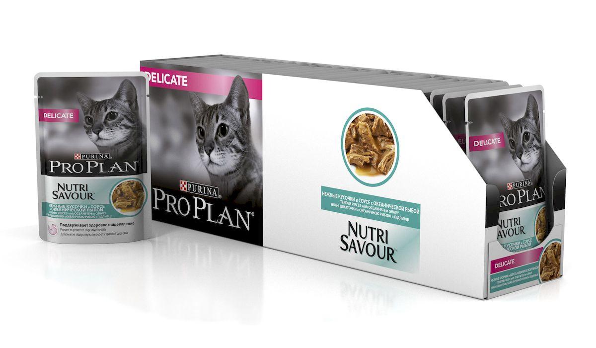 Консервы Pro Plan Nutri Savour, для кошек с чувствительным пищеварением, с океанической рыбой, 85 г, 24 шт57486_24Консервы Pro Plan Nutri Savour помогают уменьшить кожные реакции, связанные с пищевой непереносимостью. Нежные кусочки в пикантном соусе очень привлекательны для кошек благодаря запатентованной технологии. Доказано: способствует улучшению пищеварения благодаря содержанию инулина, пребиотика, который помогает сбалансировать кишечную флору кошек с повышенной чувствительностью.Состав: мясо и продукты переработки мяса, экстракты растительных белков, рыба и продукты переработки рыбы (в том числе океаническая рыба 4%), растительные и животные жиры, продукты переработки растительного сырья, красители, сахара, витамины.Добавленные вещества (МЕ/кг): витамин А 1058, витамин D3 148, витамин Е 320, мг/кг: таурин 456, железо 10,1, йод 0,38, медь 0,96, марганец 1,76, цинк 27,35, селен 0,022.Гарантируемые показатели: влажность 78%, белок 12,6%, жир 3,8%, сырая зола 2,3%, сырая клетчатка 0,3%, омега-3 жирные кислоты 0,1%, омега-6 жирные кислоты 1,1%.Товар сертифицирован.