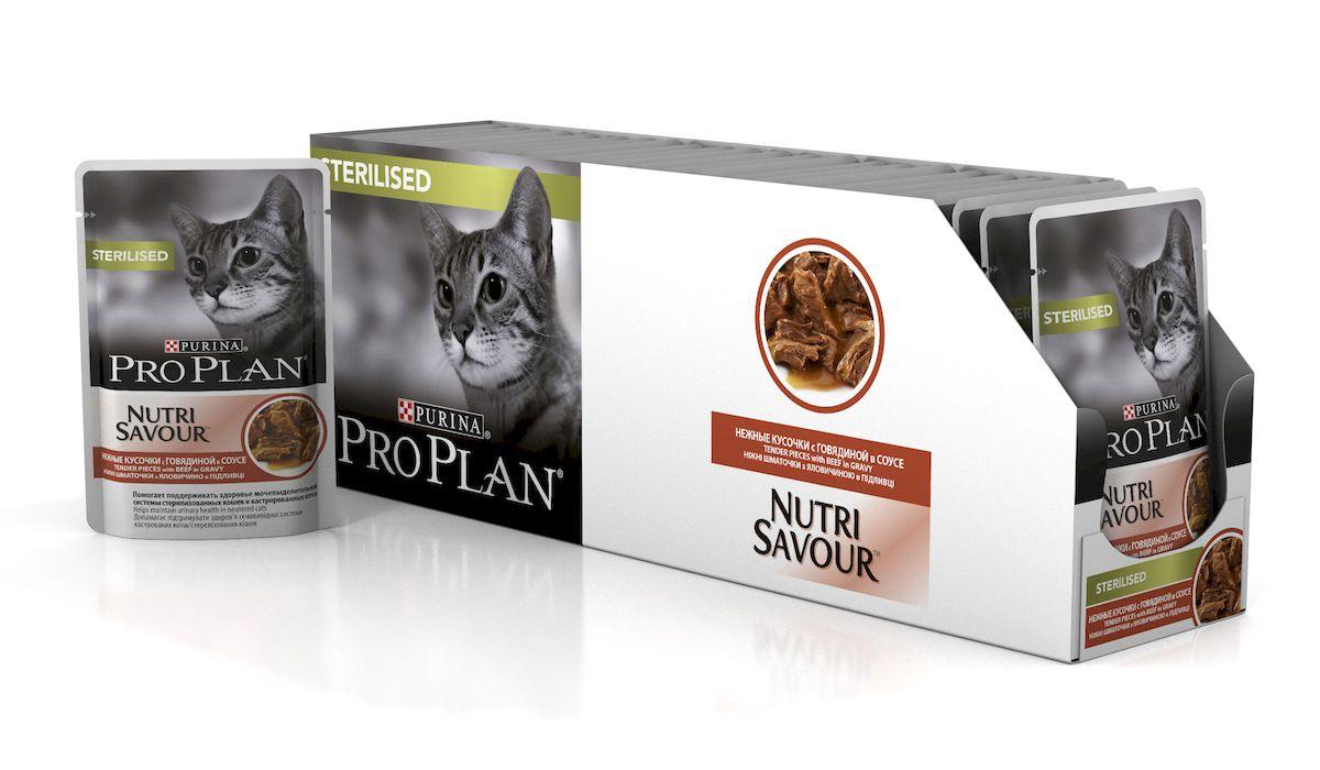 Консервы Pro Plan Nutri Savour, для стерилизованных кошек и котов, с говядиной, 85 г, 24 шт57488_24Консервы Pro Plan Nutri Savour помогает поддерживать здоровье мочевыделительной системы у кастрированных котов и стерилизованных кошек. Способствует поддержанию оптимального веса тела кошки. Помогает поддерживать естественную защиту организма благодаря содержанию антиоксидантов, таких как витамин Е. Нежные кусочки в пикантном соусе обладают приятным вкусом благодаря запатентованной технологии производства департамента Purina компании Nestle.Состав: мясо и мясные субпродукты (в том числе говядина 4%), экстракты растительных белков, рыба и рыбные субпродукты, субпродукты растительного происхождения, минеральные вещества, растительные и животные жиры, красители, различные сахара, витамины.Добавленные вещества: МЕ/кг: витамин A 1204, витамин D3 168; витамин E 342, мг/кг: таурин 519, железо 11,49, йод 0,43, медь 1,09, марганец 2,01, цинк 31,12, селен 0,025.Гарантируемые показатели: влажность 78%, белок 13%, жир: 3,3%, сырая зола 2%, сырая клетчатка 0,5%.Товар сертифицирован.