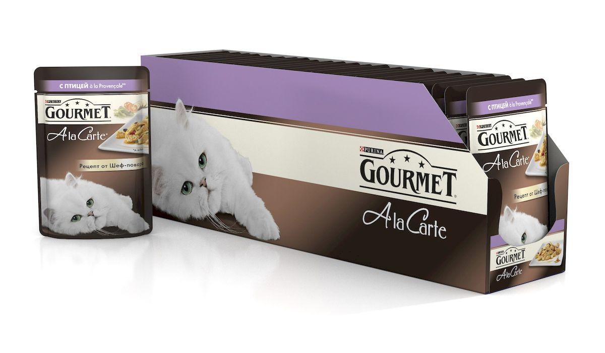 Консервы Gourmet A la Carte, для взрослых кошек, с домашней птицей a la Provencale, баклажаном, цукини и томатом, 85 г, 24 шт gourmet a la carte пауч для кошек домашняя птица с овощами 85 г