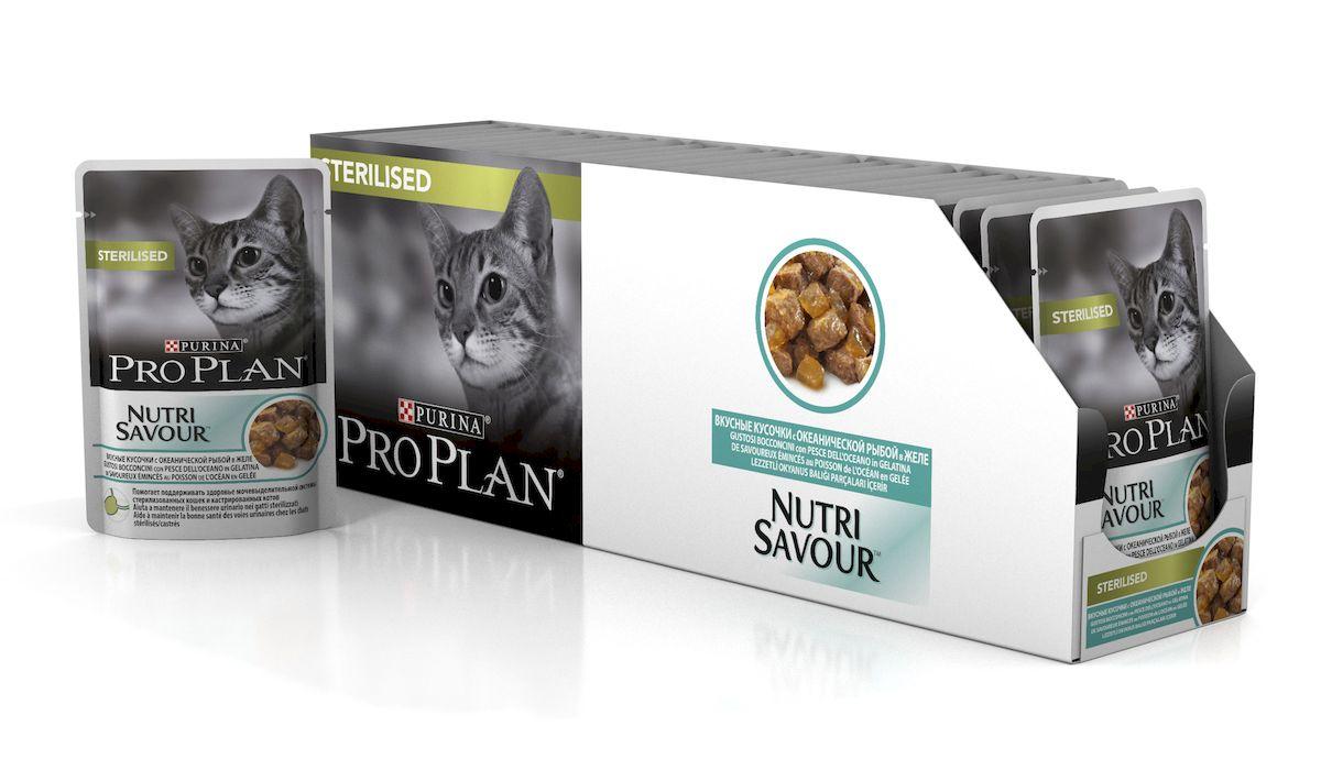 Консервы диетические Pro Plan Nutrisavour Adult, для стерилизованных кошек, с океанической рыбой, 85 г, 24 шт консервы pro plan nutri savour для домашних кошек с лососем 85 г 24 шт