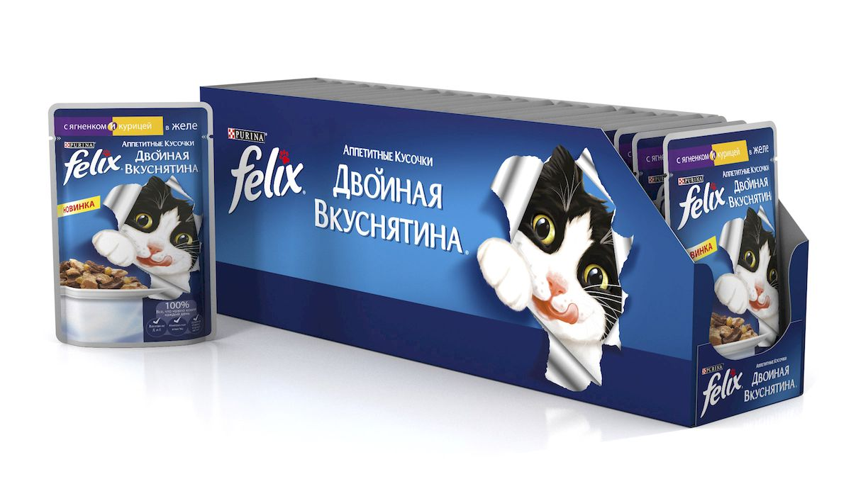 Консервы для кошек Felix, аппетитные кусочки с курицей и ягненком в желе, 85 г, 24 шт61525_24Felix Аппетитные кусочки - это совершенно особенный корм для кошек. У него такой аппетитный вид и аромат, словно его приготовили вы сами. Felix Аппетитные кусочки создан по специально разработанной рецептуре: это нежнейшие кусочки с мясом или рыбой, покрытые сочным желе. Ваш кот будет готов есть такую вкуснятину хоть каждый день - на завтрак, обед и ужин. Рекомендации по кормлению: Для взрослой кошки среднего веса (4кг) требуется примерно 3 пакетика в день. Кормление желательно разделить на два приема. Для беременных или кормящих кошек кормление без ограничений. Подавать корм при комнатной температуре. Следите, чтобы у вашей кошки всегда была чистая, свежая питьевая вода. Условия хранения: Закрытую упаковку хранить при температуре от +4°C до +35°C и относительной влажности воздуха не более 75%. После открытия продукт хранить в холодильнике максимум 24 часа. Состав: мясо и продукты его переработки (говядина мин.4%), экстракт растительного белка, рыба и продукты ее переработки, минеральные вещества, сахара, витамины. Добавленные вещества: МЕ/кг: Витамин А 1490, витамин D3 230; мг/кг железо 10, йод 0,3, медь 0,9, марганец 2,0, цинк 10. Гарантируемые показатели: влажность 80,0%, белок 13,0%, сырой жир 3,0%, сырая зола 2,2%, сырая клетчатка 0,5%. Энергетическая ценность (100г): 75,6 ккал. Товар сертифицирован.