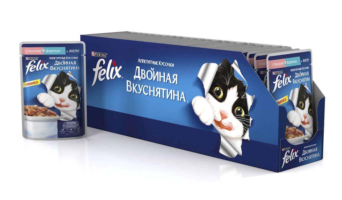 Консервы для кошек Felix Аппетитные кусочки. Двойная вкуснятина, с лососеми и форелью в желе, 85 г, 24 шт61524_24Консервы для кошек Felix Аппетитные Кусочки Двойная Вкуснятина - теперь ваша кошка может наслаждаться двойным разнообразием с новыми рецептами, которые прекрасно выглядят и вдвойне вкусны! Взгляните на один из новых рационов и вы увидите разницу: каждый рецепт включает 2 разных вкуса нежного мяса или рыбы в восхитительном желе. Состав: мясо и продукты переработки мяса, экстракт растительного белка, рыба и продукты переработки рыбы (из которых лосось 4%, форель 4%), минеральные вещества, красители, различные сахара, витамины.Анализ состава: протеины - 11,5%жиры - 2,5%клетчатка - 0,1%зола - 2,5%витамин A - 670 МЕвитамин D3 - 100 МЕвитамин E - 15 МЕ. Товар сертифицирован.