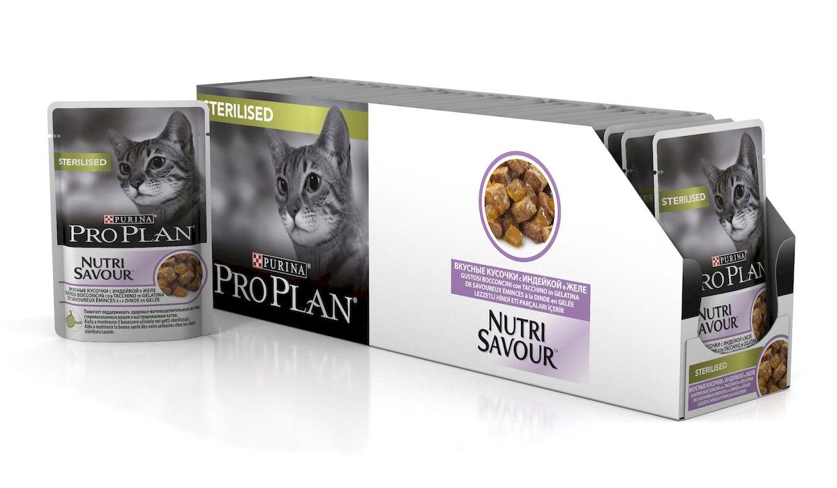 Консервы Pro Plan Nutri Savour, для стерилизованных кошек и кастрированных котов, с индейкой, 85 г, 24 шт консервы pro plan nutri savour для домашних кошек с лососем 85 г 24 шт
