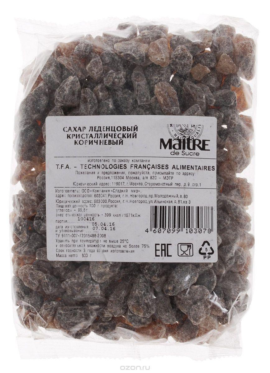 Maitre de Sucre сахар леденцовый коричневый кристаллический, 800 г maitre сахар леденцовый кристаллический прозрачный 800 г