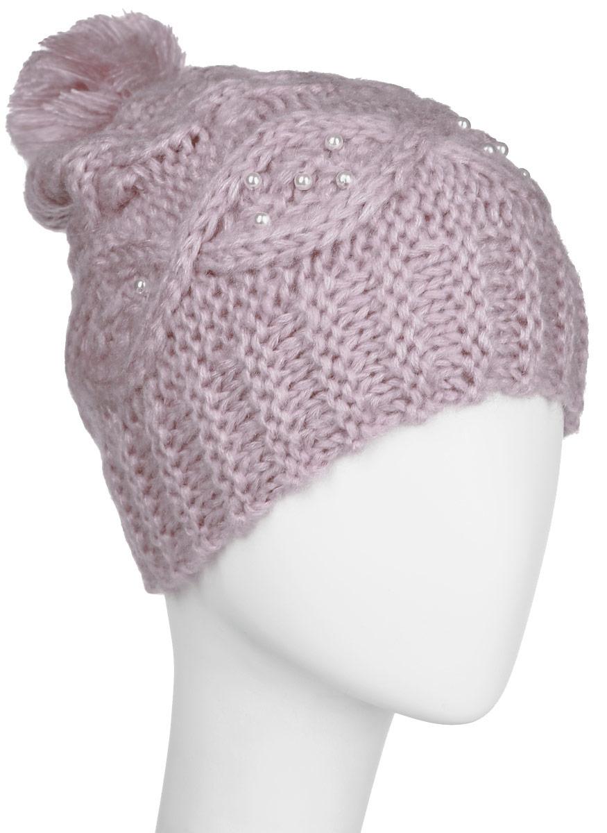 Шапка для девочки Sela, цвет: пепельно-розовый. HAk-641/015AK-6404. Размер 54/56HAk-641/015AK-6404Стильная вязаная шапка для девочки Sela идеально подойдет для прогулок в прохладное время года. Изготовленная из акрила, она обладает хорошими дышащими свойствами и хорошо удерживает тепло.Шапка декорирована имитацией жемчуга, а на макушке украшена небольшим помпоном. Понизу проходит широкая вязаная резинка.Такая шапка станет модным и стильным предметом детского гардероба. Она улучшит настроение даже в хмурые прохладные дни! Уважаемые клиенты!Размер, доступный для заказа, является обхватом головы ребенка.