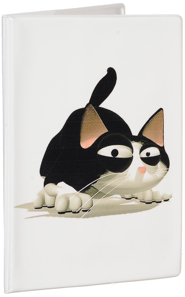 Обложка для паспорта женская Эврика Котенок, цвет: белый, черный. 92590 фигурка есть такая профессия на работе сидеть эврика