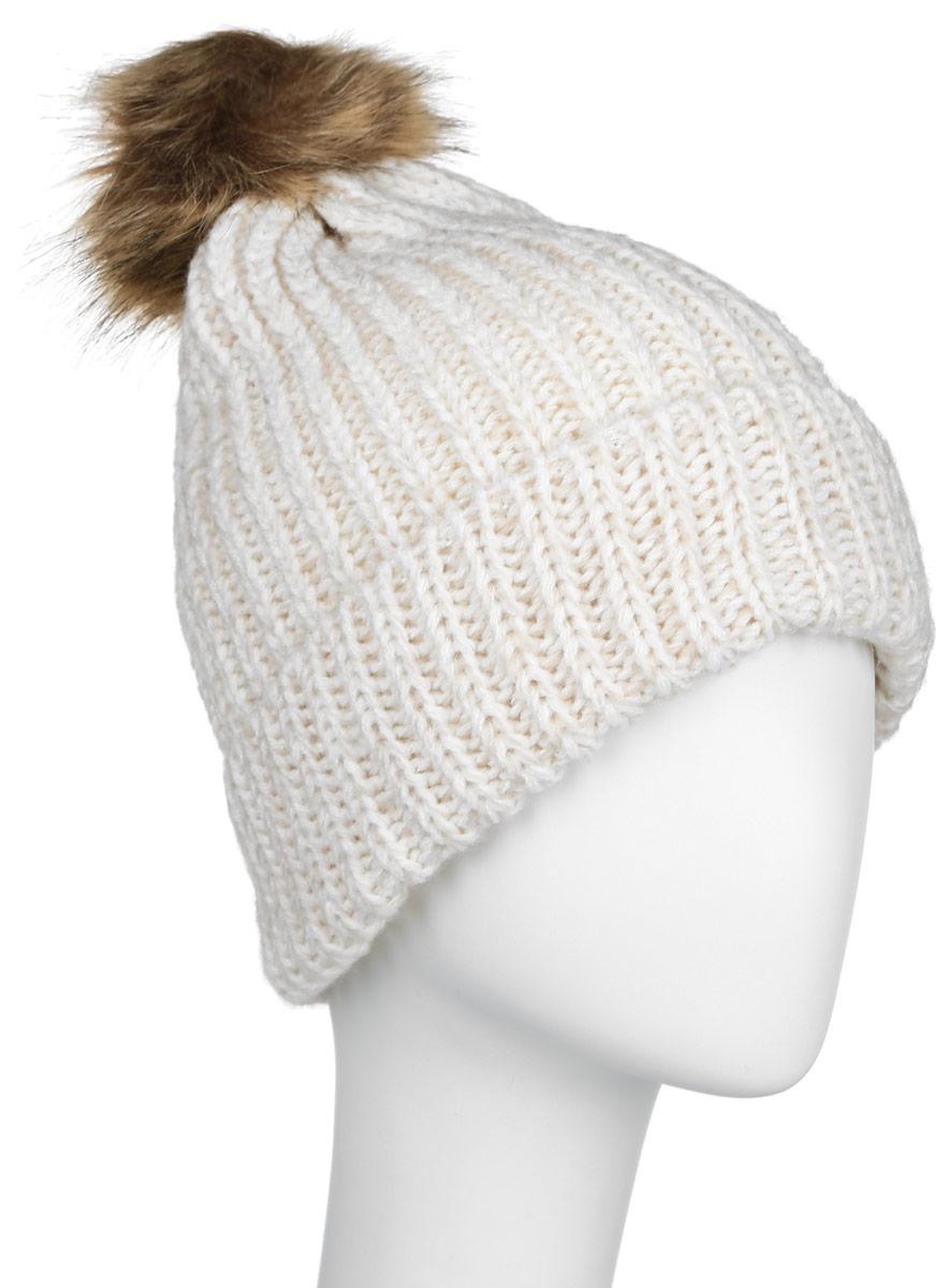 Шапка женcкая Sela, цвет: бежевый, молочный. HAk-141/020-6404. Размер 56/58HAk-141/020-6404Стильная женская шапка Sela дополнит ваш наряд и не позволит вам замерзнуть в холодное время года. Шапка крупной вязки выполнена из высококачественной пряжи акрила, что позволяет ей великолепно сохранять тепло и обеспечивает высокую эластичность и удобство посадки. Шапка оформлена пушистым помпоном из искусственного меха.Такая шапка станет модным и стильным дополнением вашего гардероба. Она согреет вас и позволит подчеркнуть свою индивидуальность!Уважаемые клиенты!Размер, доступный для заказа, является обхватом головы.