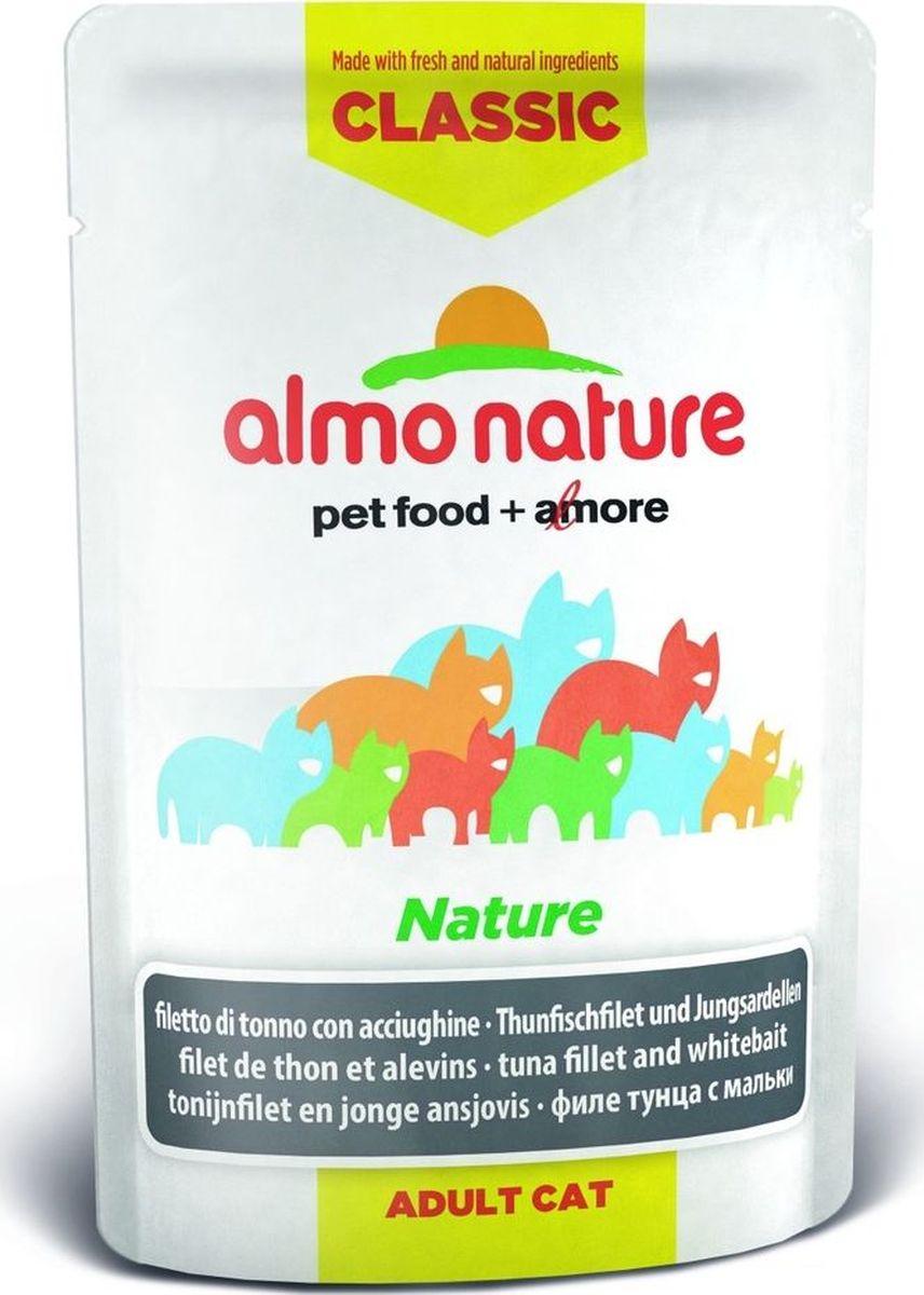 Консервы для кошек Almo Nature Classic, филе тунца с мальками, 55 г консервы для щенков almo nature classic с курицей 280 г