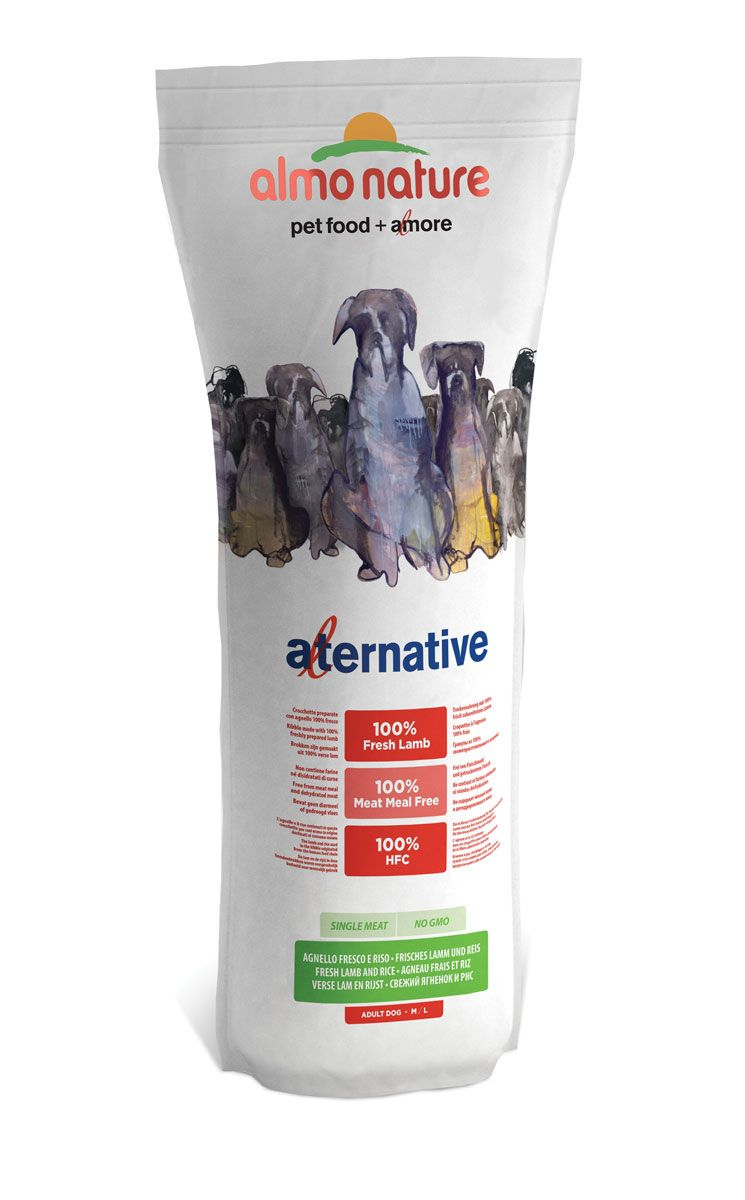 Корм сухой Almo Nature Alternative, для собак средних и крупных пород, с ягненком и рисом, 9,5 кг10766Полнорационный корм Almo Nature Alternative рекомендован для собак средних и крупных пород. Монобелковый корм не содержит мясной муки и дегидрированного мяса. Рекомендован к употреблению собакам с чувствительным пищеварением. Не содержит глютена, ГМО, химических консервантов, красителей и усилителей вкуса.Состав: свежий ягненок 50%, рис 45%, дрожжи, свекольный жом, картофельный протеин, жир животного происхождения, минералы, гидролизированный белок ягненка, цельные семена льна, лососевый жир, маннанолигосахариды 0,1%, инулин из цикория - источник ФОС (фруктоолигосахариды)- 0,1%.Товар сертифицирован.