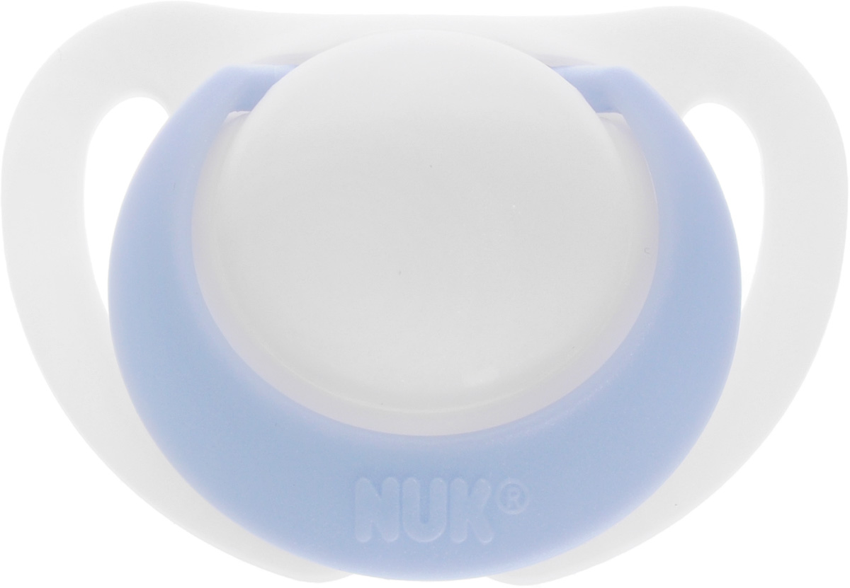 Фото NUK Пустышка силиконовая ортодонтическая Genius от 0 до 2 месяцев цвет белый голубой