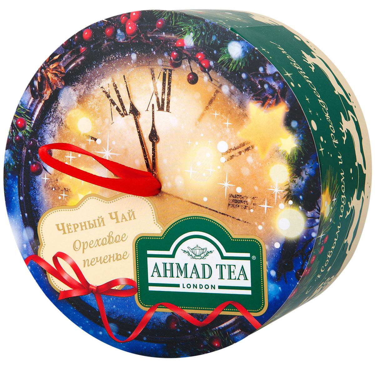 Ahmad Tea Новогодняя ночь черный листовой чай с лесным орехом, 60 гN068Чай черный байховый листовой Новогодняя ночь со вкусом и ароматом орехового печенья.Благородный вкус черного чая с высокогорных плантаций Индии и Цейлона приобретает особенную выразительность в сочетании с тонким ореховым послевкусием. Сладкая нота лесного ореха смягчает классическую терпкость черного чая и придает десертное звучание этому изысканному купажу.