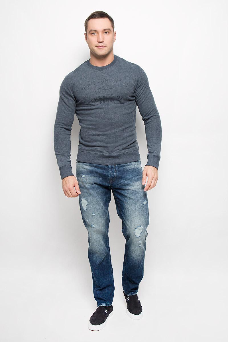 Свитшот мужской Selected Homme Heritage, цвет: темно-синий меланж. 16051414. Размер M (46) пуловер мужской selected homme identity цвет бордовый 16051696 размер l 48