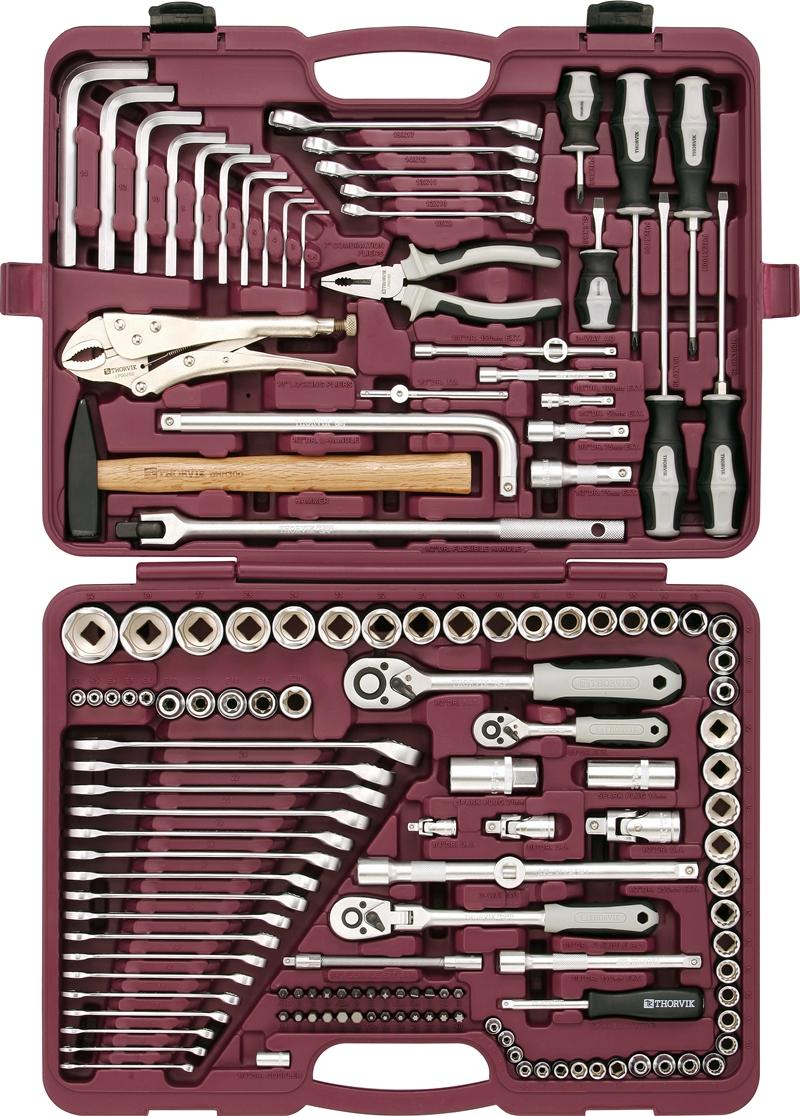 цена на Набор инструментов Thorvik, универсальный 1/4, 3/8 и 1/2DR, 142 предмета