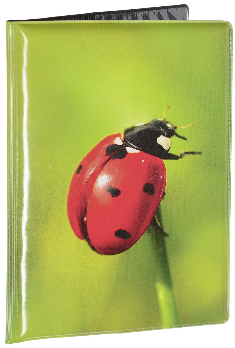 Обложка для паспорта женская Эврика Божья коровка, цвет: зеленый, красный. 96038 обложка для паспорта женская fabula london цвет белый o 85 sp