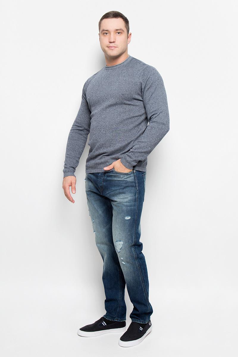 Джемпер мужской Only & Sons, цвет: серо-синий. 22004795. Размер M (46)22004795_Dress BluesСтильный мужской джемпер Only & Sons, выполненный из натурального хлопка, станет стильным дополнением к вашему образу. Материал изделия очень мягкий и тактильно приятный, не стесняет движений, хорошо пропускает воздух.Джемпер с круглым вырезом горловины и длинными рукавами. Манжеты рукавов и вырез горловины связаны резинкой.Джемпер - идеальный вариант для создания образа в стиле Casual. Он подарит вам уют и комфорт в течение всего дня.