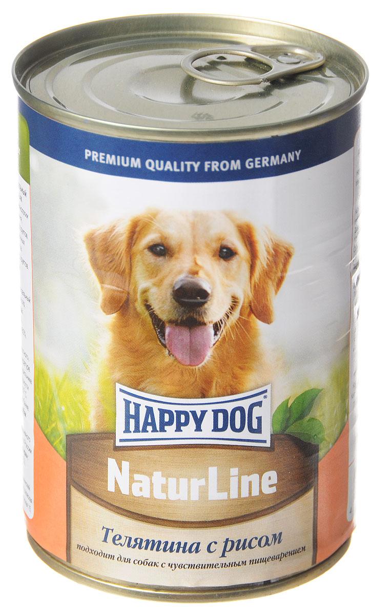 Консервы для собак Happy Dog Natur line, с телятиной и рисом, 400 г консервы для собак зоогурман спецмяс с индейкой и курицей 300 г
