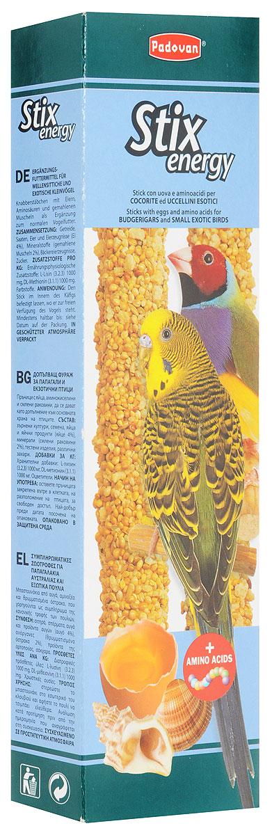 Лакомство Padovan Энерджи, для волнистых попугаев и экзотических птиц, 80 г16803Лакомство Padovan Энерджи предназначено для волнистых попугаев и экзотических птиц. Пригодно для питания и других птиц. Палочки спрессованы из тщательно подобранной смеси семян и полезных пищевых добавок - особенно, минералов. Они снабжены приспособлением для удобного крепления лакомства внутри клетки.Товар сертифицирован.