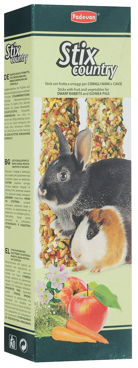 Лакомство Padovan Кантри, для кроликов и морских свинок, 100 г падован лакомства палочки овощные для кроликов и морских свинок padovan stix flakes 100 г