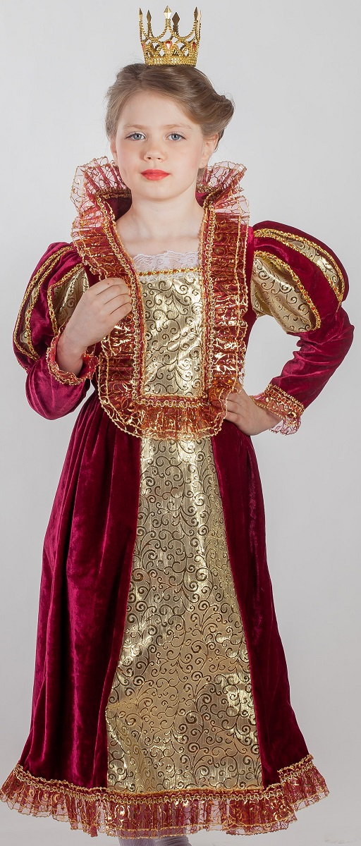 Карнавалия Карнавальный костюм для девочки Королева цвет бордовый размер 134