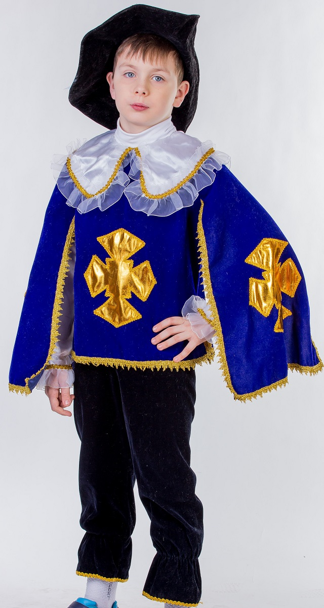 Карнавалия Карнавальный костюм для мальчика Мушкетер цвет синий черный размер 36 - Карнавальные костюмы и аксессуары