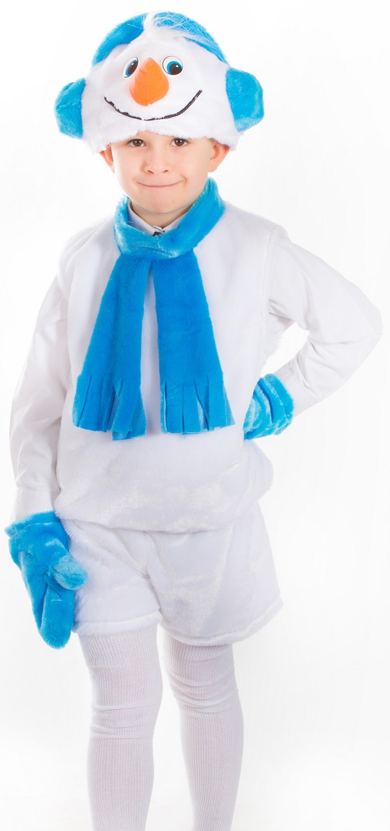 Карнавалия Карнавальный костюм для мальчика Снеговичок цвет белый бирюзовый рост 122