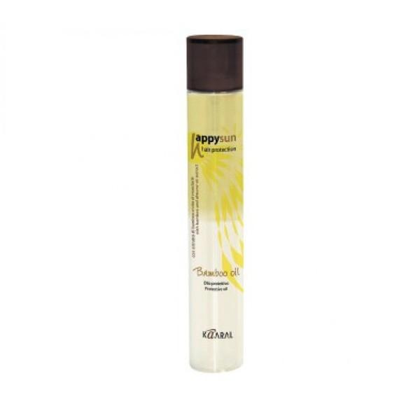 Kaaral Несмываемый двухфазный спрей Happy Sun Bamboo Oil, 150 мл1038Идеальное средство для волос, без эффекта сальности и утяжеления. Защищает волосы от УФ лучей за счет сочетания экстракта бамбука и солнцезащитных эфирных масел семян сладкого миндаля. Усиливает блеск волос.