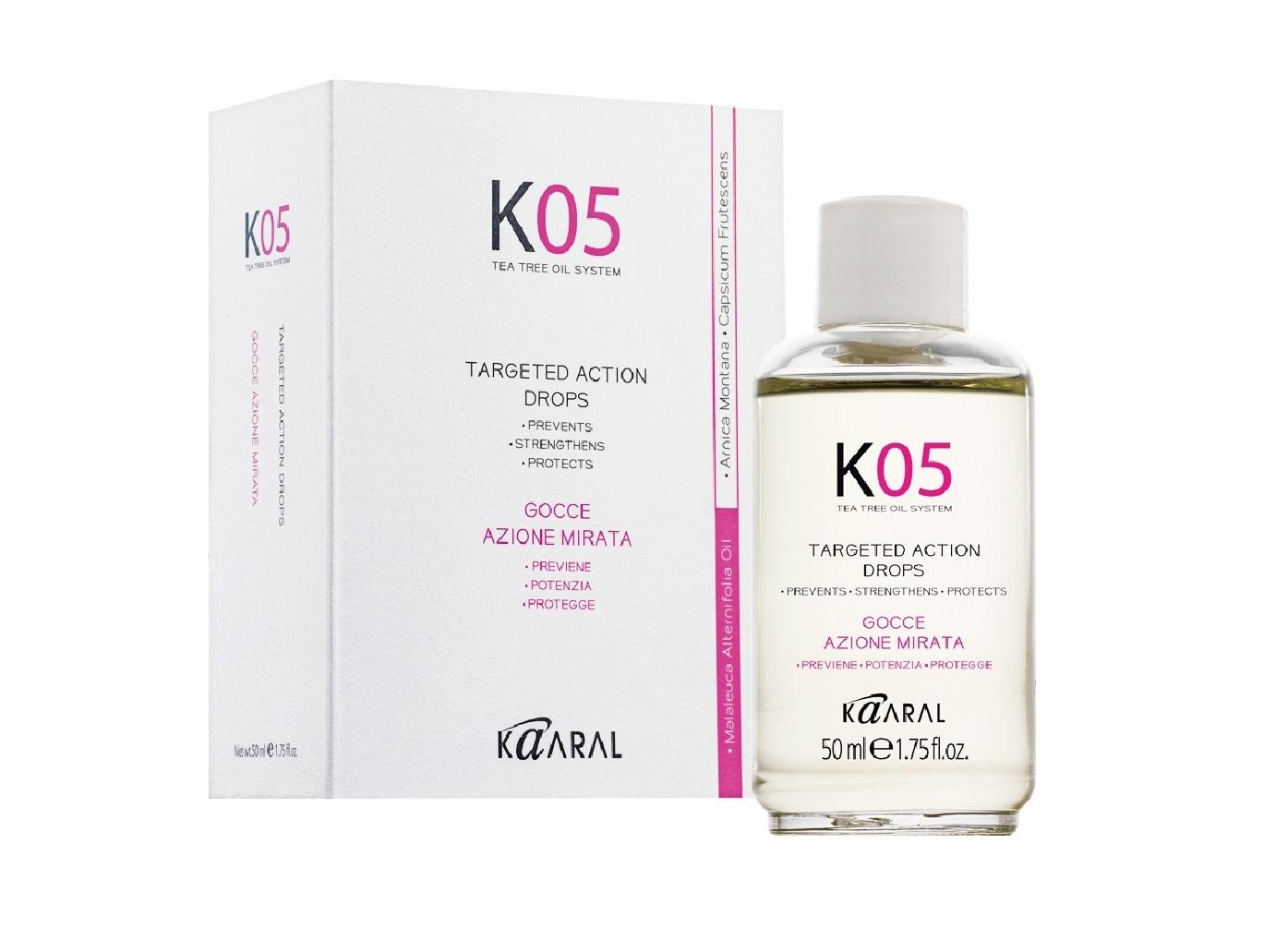 Kaaral Жидкость против выпадения волос направленного действия К05 Gocce Azione Mirata, 50 мл1052Комплекс предназначен для применения при очаговом выпадении волос.