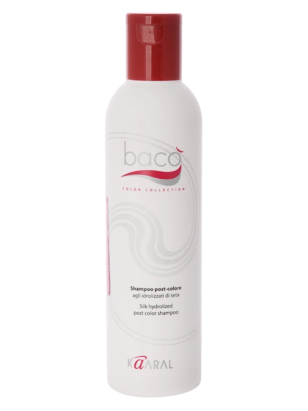 Kaaral Шампунь для окрашенных волос Baco Silk Hydrolized Post Color Shampoo, 250 мл1064Идеально удаляет остатки красителя с поверхности кожи головы, нейтрализуя и вырав- нивая нормальный уровень РН. Шампунь с гидролизатами шелка нейтрализует щелочной уровень РН волос и кожи после окрашивания перманентными красителями, стабилизирует цвет и ухаживает за окрашенными волосами. Предотвращает выцветание и вымывание цветовых пигментов изнутри волоса, придает дополнительный блеск.