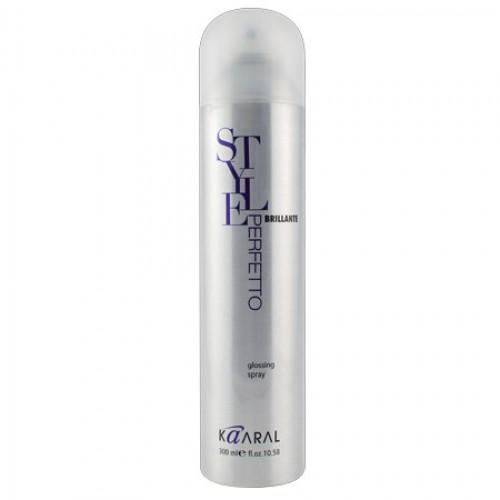 Kaaral Спрей для бриллиантового блеска Style Perfetto Brilliante Glossing Spray, 300 мл1103Завершающий спрей ультра блеск придает волосам ослепительный блеск и бриллиантовое сияние. Великолепно подходит для любых типов волос. Не перегружает волосы, предотвращает электризацию волос. Делает волосы более эластичными и гладкими. УФ-фильтры защищают волосы от вредного воздействия солнечных лучей. Без фактора фиксации.