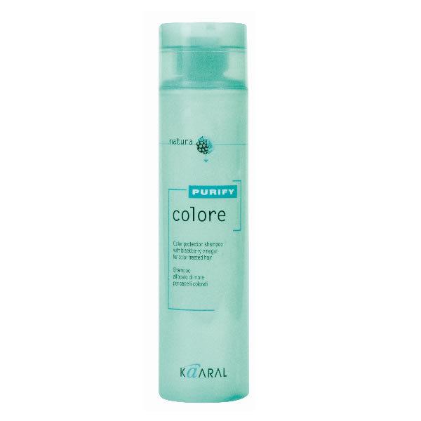 Kaaral Шампунь для окрашенных волос Purify Colore Shampoo, 250 мл1213Высокоэффективный слабокислый PH шампунь для окрашенных волос. Бережно закрывает кутикулу, надолго сохраняя цветовые пигменты внутри волос, нейтрализует остатки щелочи и перекиси, что позволяет сохранить яркость цвета и блеск окрашенных волос. Эксклюзивный комплекс питательных веществ на основе плодов и листьев ежевики оказывает интенсивное ухаживающее воздействие улучшая структуру волос.