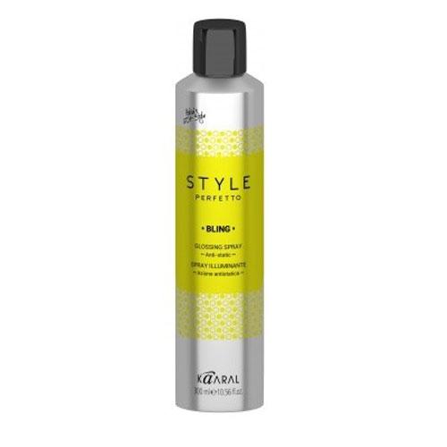 Kaaral Спрей-защита от курчавости и для придания блеска Style Perfetto Bling Glossing Spray, 300 млK15934Спрей предназначен для защиты волос от курчавости и для придания им блеска. Спрей рекомендуется для ухода за сухими, ослабленными или окрашенными волосами. Средство эффективно увеличивает блеск волос, не утяжеляет.Спрей защита от курчавости и для придания блеска. Защитный спрей для сухих, ослабленных или окрашенных волос. Увеличивает блеск волос. Идеален для всех типов волос. Не утяжеляет волосы.
