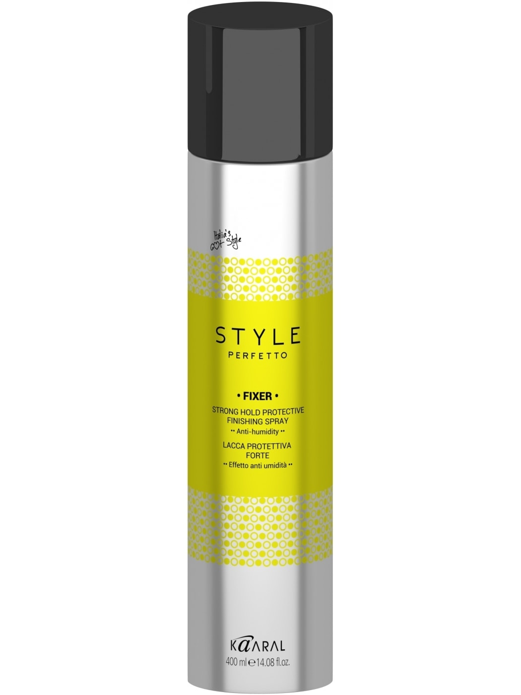 Kaaral Защитный лак для волос сильной фиксации Style Perfetto Fixer Strong Hold Protective Finishing Spray, 400 мл kaaral лак без газа экстра фиксации style perfetto definer extra strong hold working no aerosol spray 350 мл
