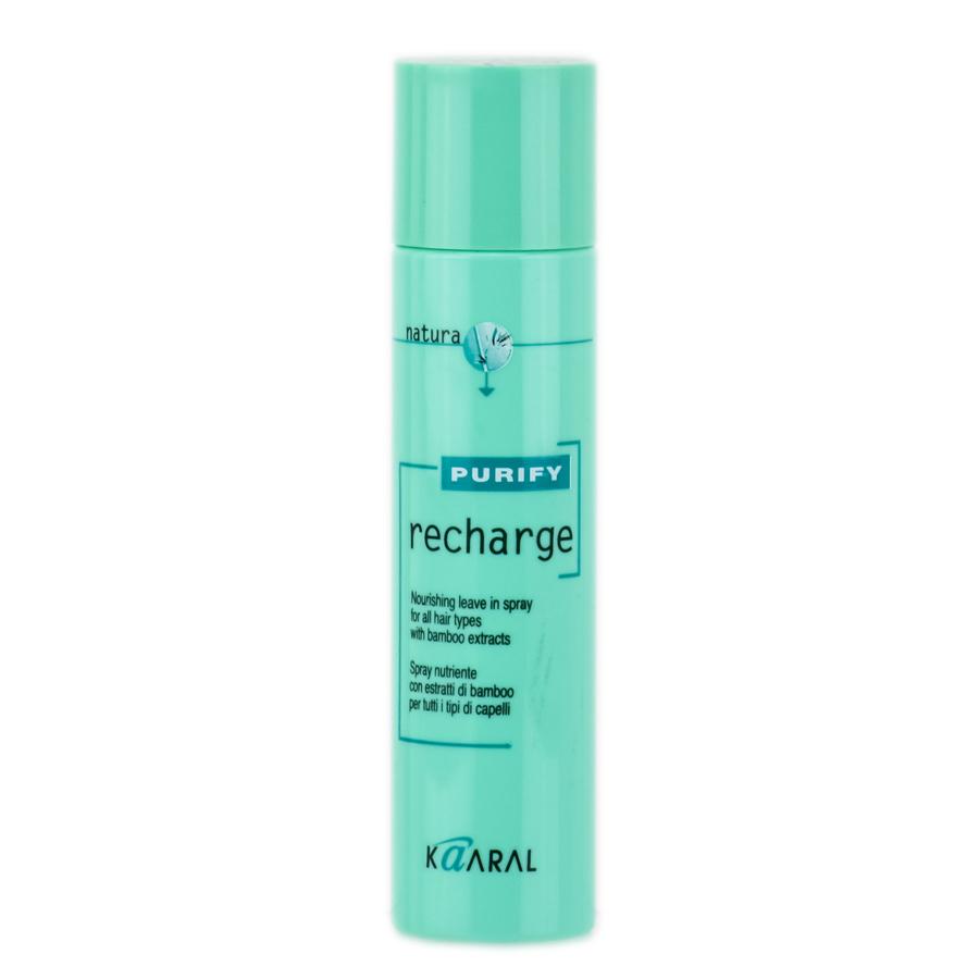 Kaaral Спрей для волос с экстрактом бамбука Purify Recharge, 100 млkaar1244Спрей для волос с экстрактом бамбука Kaaral Recharge Purify - питательный спрей для всех типов волос. Спрей содержит экстракт бамбука, масло сладкого миндаля, пантенол и алоэ барбаденсис.Формула спрея создана по технологии NexxuSphere - микросферы, содержащие питательные вещества, антиоксиданты и УФ-протекторы, обладают свойством замедленного высвобождения, что позволяет продлить питательный эффект.