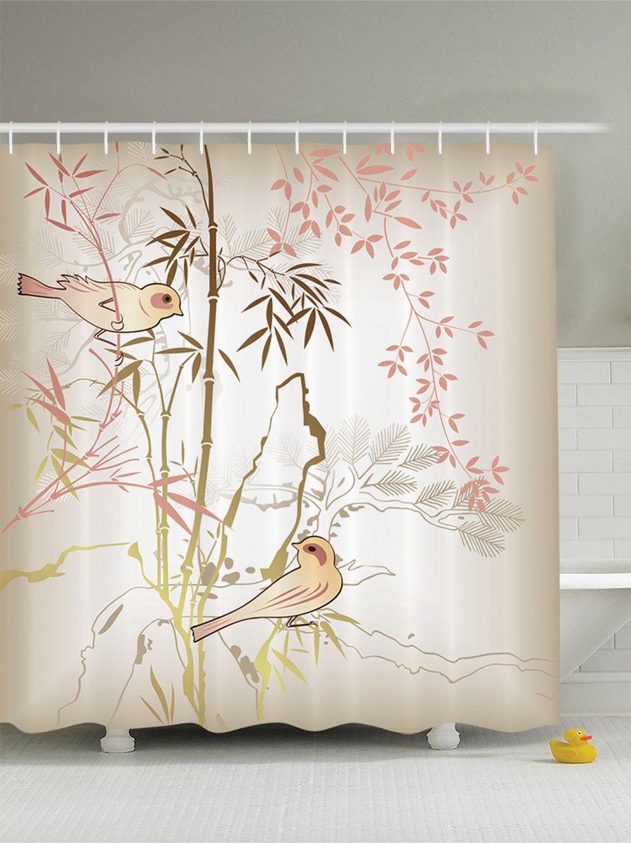 """Штора Magic Lady """"Красивые птицы амадины"""", изготовленная из высококачественного сатена  (полиэстер 100%), отлично дополнит любой интерьер ванной комнаты. При изготовлении  используются специальные гипоаллергенные чернила для прямой печати по ткани, безопасные  для человека.      В комплекте: 1 штора, 12 крючков.  Обращаем ваше внимание, фактический цвет изделия может незначительно отличаться от  представленного на фото."""