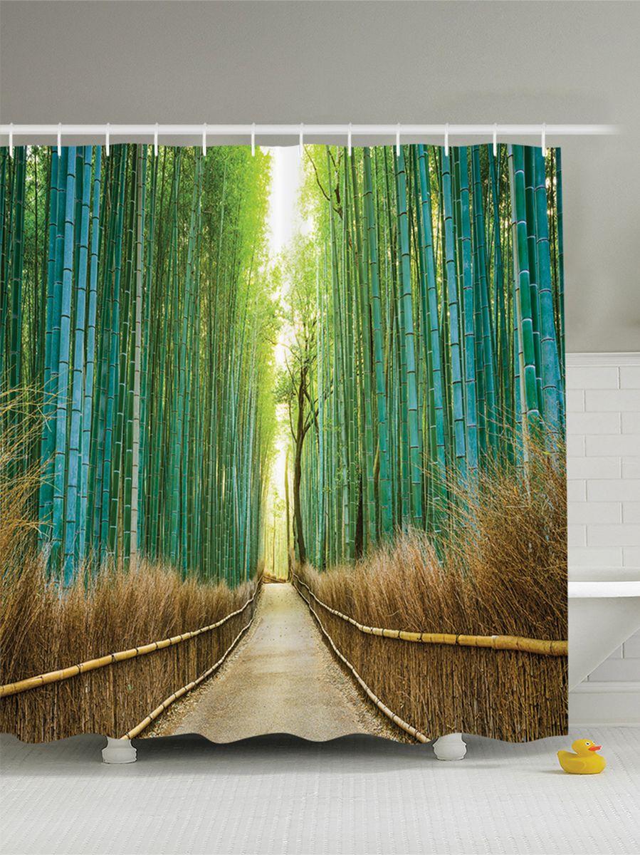 """Штора Magic Lady """"Дорога в бамбуковой роще"""", изготовленная из высококачественного сатена (полиэстер 100%), отлично дополнит любой интерьер ванной комнаты. При изготовлении используются специальные гипоаллергенные чернила для прямой печати по ткани, безопасные для человека.    В комплекте: 1 штора, 12 крючков. Обращаем ваше внимание, фактический цвет изделия может незначительно отличаться от представленного на фото."""