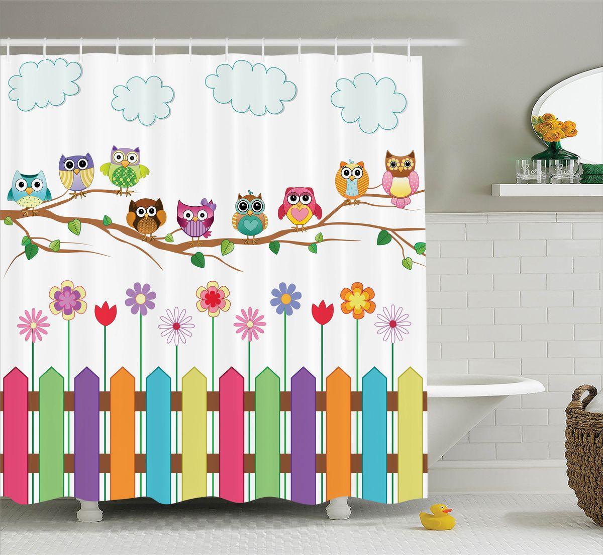 Штора для ванной комнаты Magic Lady Совы  ветке, 180 х 200 см