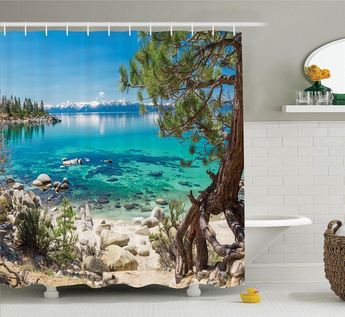 """Штора Magic Lady """"Сосна на морском берегу"""", изготовленная из высококачественного сатена (полиэстер 100%), отлично дополнит любой интерьер ванной комнаты. При изготовлении используются специальные гипоаллергенные чернила для прямой печати по ткани, безопасные для человека.    В комплекте: 1 штора, 12 крючков. Обращаем ваше внимание, фактический цвет изделия может незначительно отличаться от представленного на фото."""