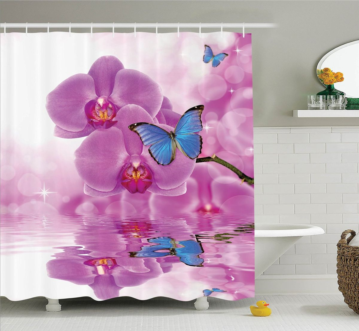 Штора для ванной комнаты Magic Lady Бабочки на цветах орхидеи, 180 х 200 см фотоштора для ванной утка принимает душ magic lady 180 х 200 см