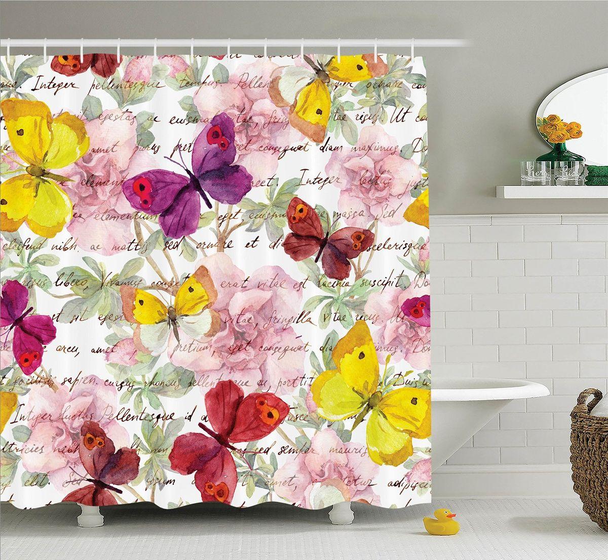"""Штора для ванной комнаты Magic Lady """"Разноцветные бабочки"""" выполнена из высококачественного сатена (полиэстер 100%). При изготовлении используются специальные гипоаллергенные чернила. Оригинальный дизайн и цветовая гамма привлекут к себе внимание. Изделие хорошо пропускает свет и быстро высыхает. Такая штора прекрасно впишется в любой интерьер ванной комнаты и идеально защитит от брызг."""